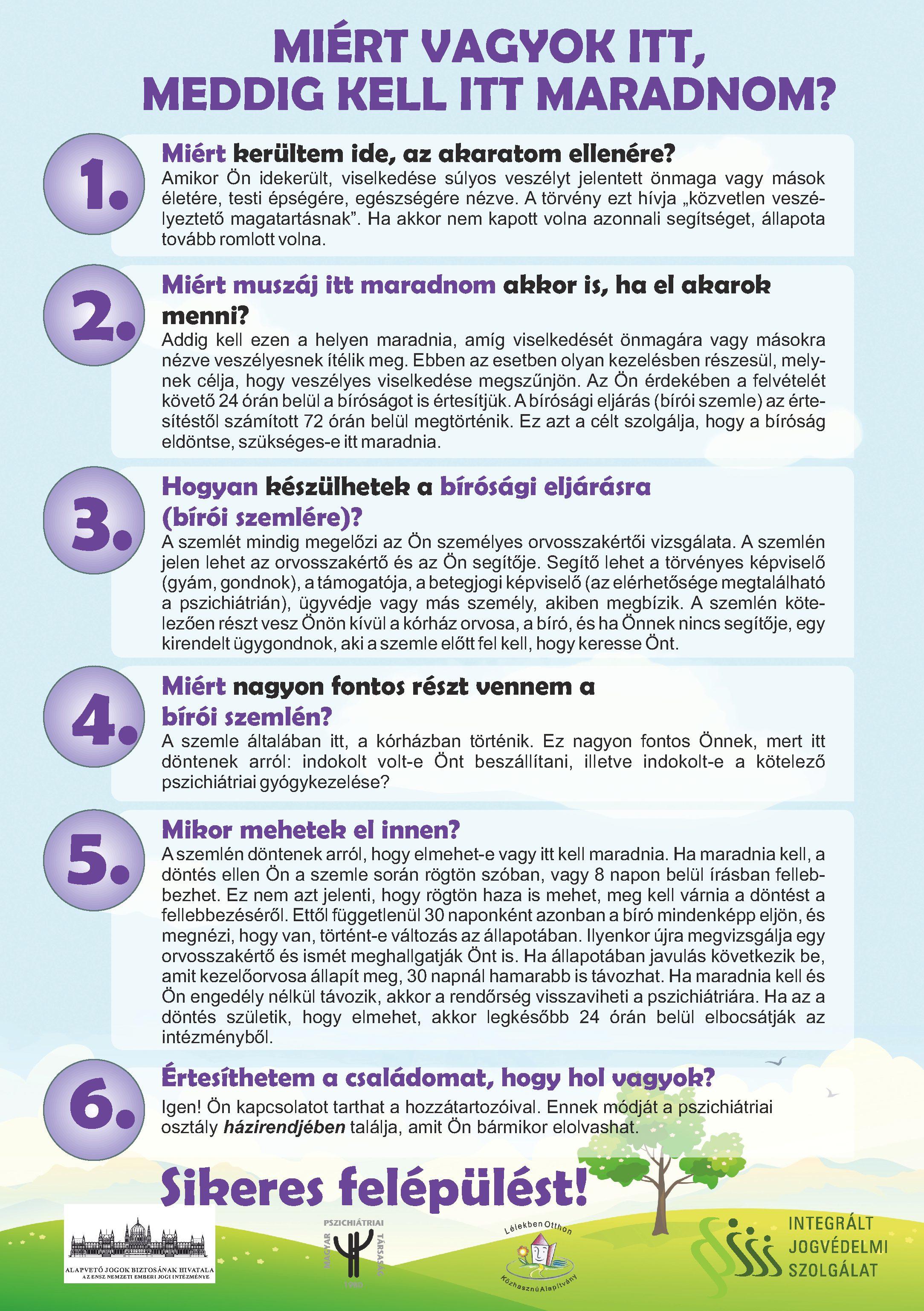 Betegtájékoztató poszter a pszhichiátriai betegek jogairól